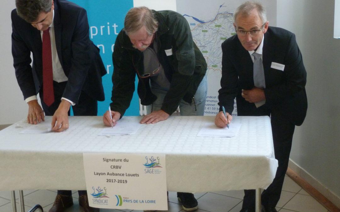 Signature du Contrat Régional de Bassin Versant  Layon Aubance Louets 2017-2019 le 17 novembre 2017